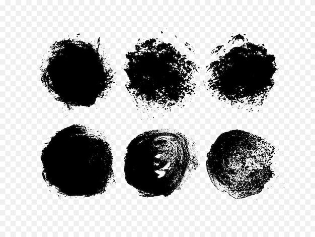 Ensemble d'encre abstraite. cercle noir grunge dessiné à la main.