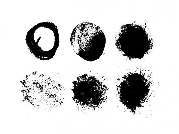 Ensemble d'encre abstraite sur fond blanc cercle noir grunge dessiné à la main. pièce de haute qualité.