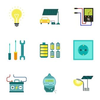 Ensemble D'énergie Lumineuse, Style Plat Vecteur Premium