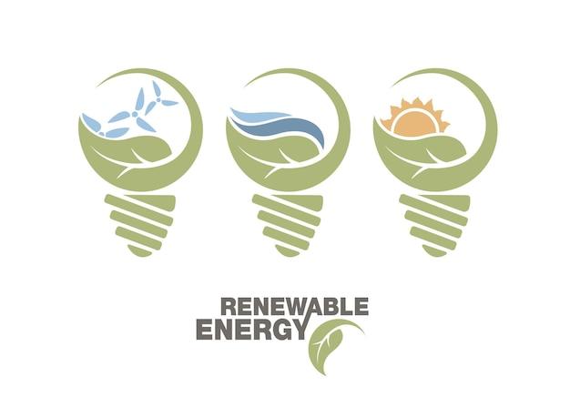 Ensemble d'énergie renouvelable de terre dans l'ampoule.