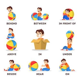 Ensemble enfant et balle. apprentissage du concept de préposition. garçon au-dessus