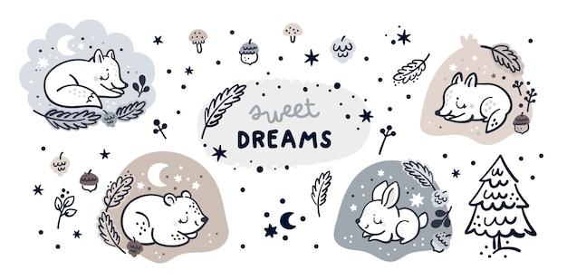 Ensemble enfantin avec dessin animé petits animaux de la forêt dans un trou et éléments de décoration de l'heure d'hiver