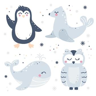 Ensemble enfantin dessiné à la main avec des animaux de l'arctique