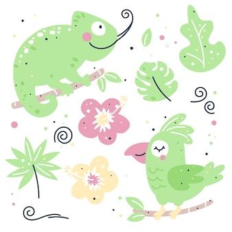 Ensemble enfantin dessiné à la main avec caméléon et perroquet