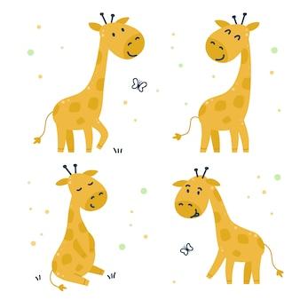 Ensemble enfantin dessiné à la main avec des girafes