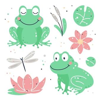 Ensemble enfantin dessiné à la main avec grenouille, feuilles, fleurs et libellule