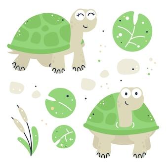 Ensemble enfantin dessiné à la main avec des tortues, des feuilles et des roseaux
