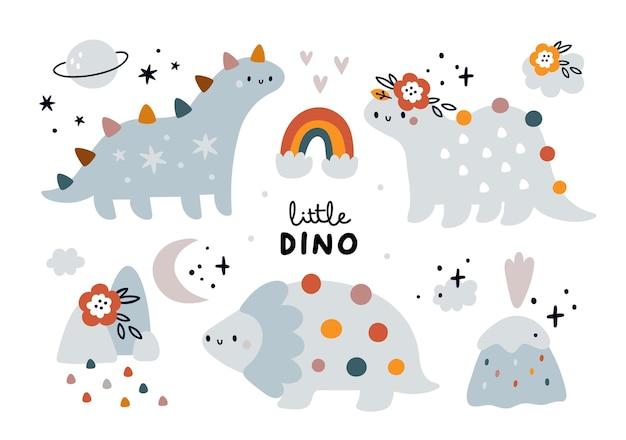 Ensemble enfantin mignon avec bébé dinosaures animaux dino collection éléments de nature arc-en-ciel