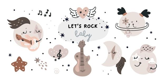 Ensemble enfantin avec des planètes de dessin animé, des lunes. rock star, éléments de conception de thème de musique pour les enfants