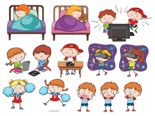 Un ensemble d'enfants et d'activités de griffonnage