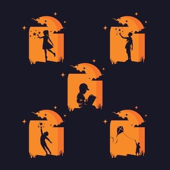 Ensemble d'enfants atteignant des silhouettes d'étoiles