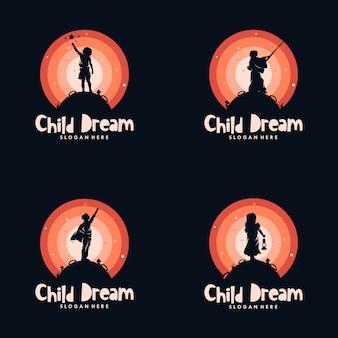 Ensemble d'enfants atteignent la création de logo de rêves