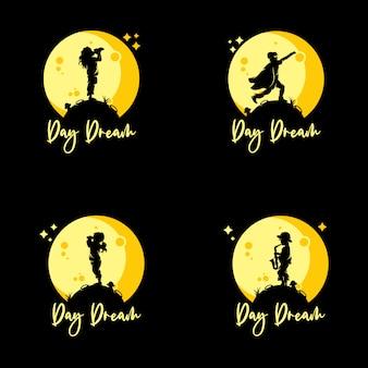 Ensemble d'enfants atteignent le logo de rêves