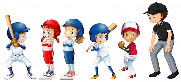 Ensemble d'enfants de baseball