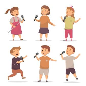 Ensemble d & # 39; enfants chantant illustration