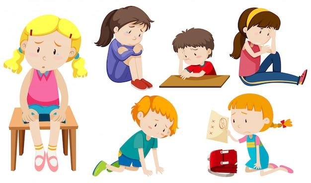 Ensemble d'enfants déprimés