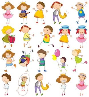 Ensemble d'enfants différents dans un style doodle
