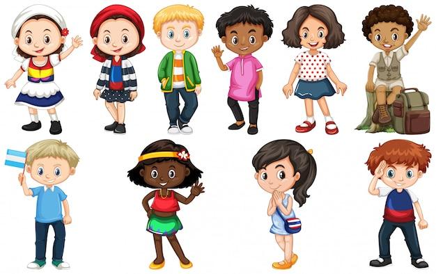 Ensemble d'enfants de différents pays