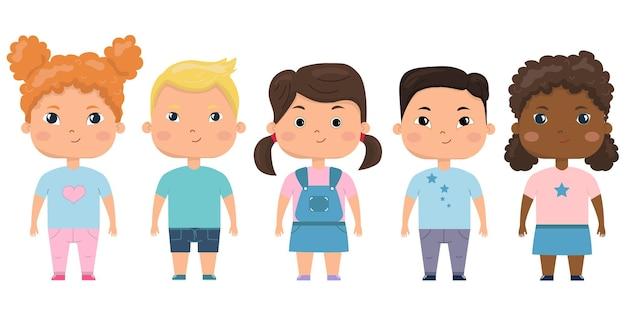 Ensemble d'enfants. ensemble vectoriel d'enfants d'âge préscolaire nationalité différente.