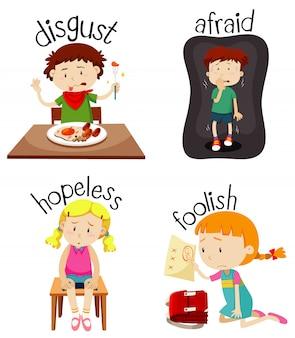 Ensemble d'enfants faisant des activités avec des adjectifs
