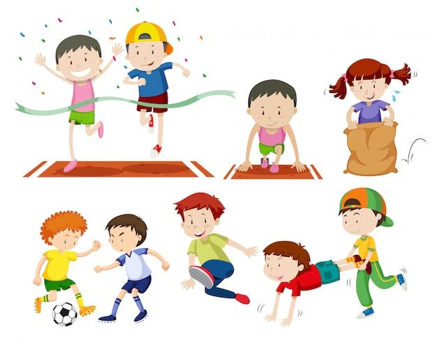 Ensemble d'enfants faisant des activités sportives