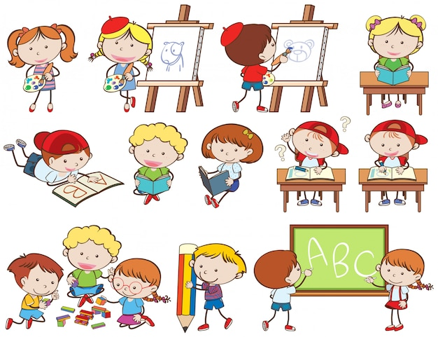 Ensemble d'enfants faisant des activités