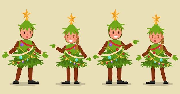 Ensemble d'enfants garçon et fille portant des personnages de costumes d'arbre de noël