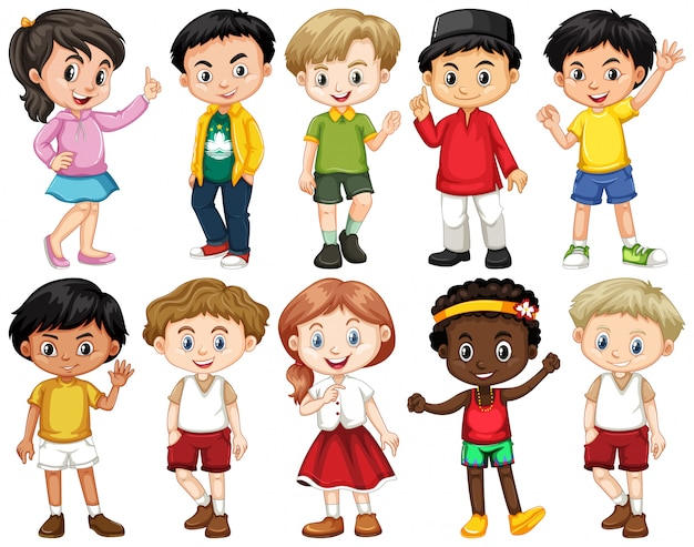 Ensemble d'enfants heureux faisant différentes actions