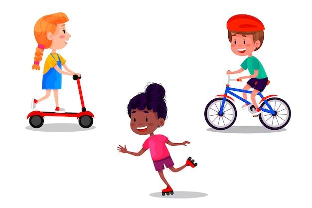 Ensemble d'enfants heureux sur patins, rouleaux, scooter et vélo. activités de plein air pour les vacances d'été pour les enfants. illustration sur fond blanc isolé.