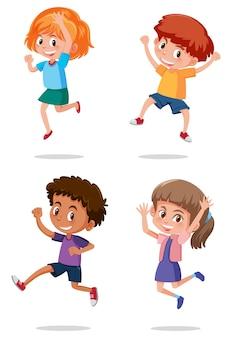 Un ensemble d'enfants heureux