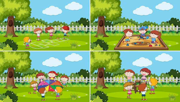 Un ensemble d'enfants jouant au parc