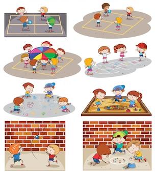 Un ensemble d'enfants jouant au terrain de jeu