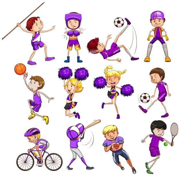 Ensemble d'enfants jouant différents types de sports