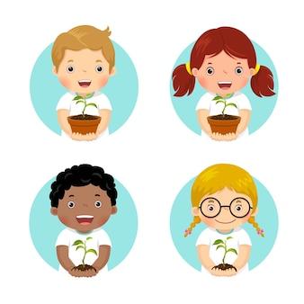 Ensemble d'enfants tenant une jeune plante