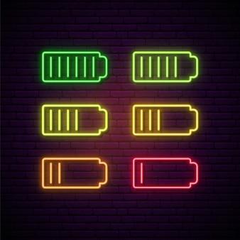 Ensemble d'enseigne au néon de batterie.
