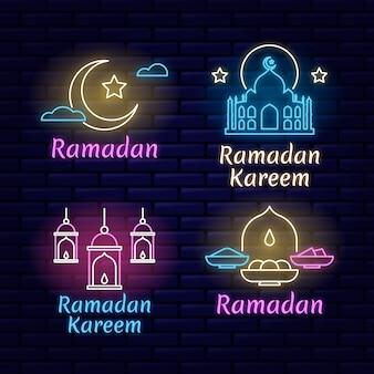 Ensemble d'enseigne au néon lettrage ramadan créatif