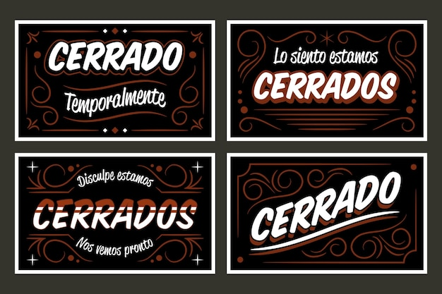 Ensemble d'enseigne vintage cerrado