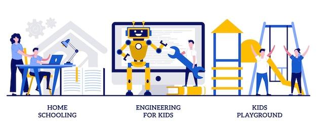 Ensemble d'enseignement à domicile, ingénierie pour enfants, aire de jeux pour enfants, éducation pour enfants