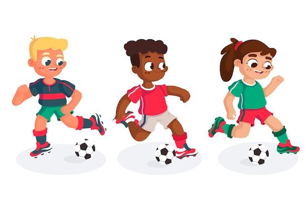 Ensemble d'entraînement de joueurs de football de dessin animé