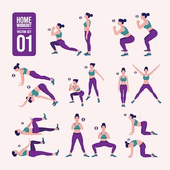 Ensemble d'entraînement pour femmes femmes faisant des exercices de fitness et de yoga