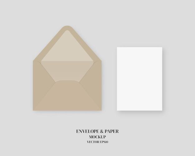 Ensemble d'enveloppe réaliste vierge et papier