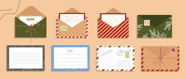 Ensemble d'enveloppes, lettres et cartes postales. enveloppe ouverte avec timbre dans un style plat
