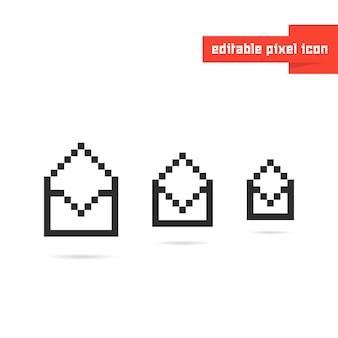 Ensemble d'enveloppes noires modifiables en pixel art. concept de correspondance, mosaïque, identité visuelle 8 bits, spam, rapport, sms. conception graphique de logotype moderne tendance style pixelart plat sur fond blanc