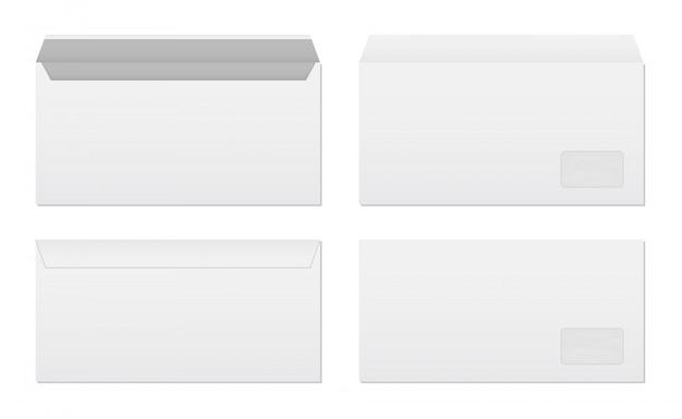 Ensemble d'enveloppes en papier blanc vierge.