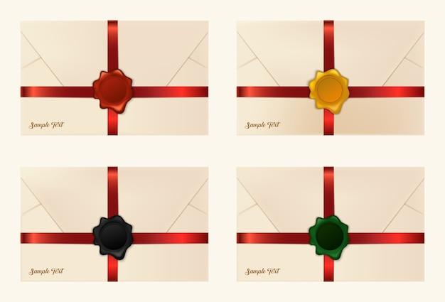Ensemble d'enveloppes scellées en cire