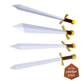 Ensemble d'épées isolé sur blanc