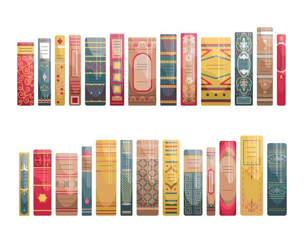 Ensemble d'épines plates de livres dans un style rétro