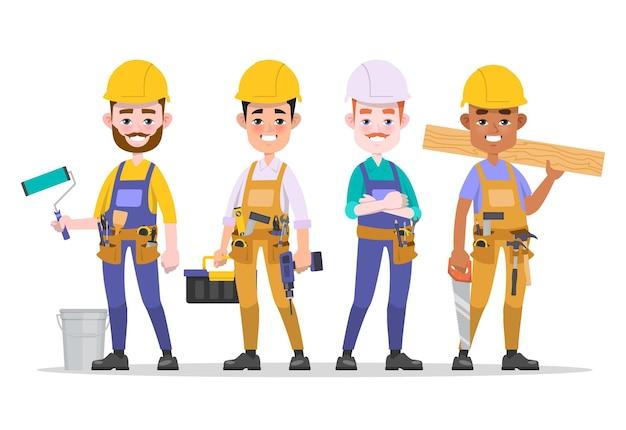 Ensemble d & # 39; équipe de travailleur de la construction