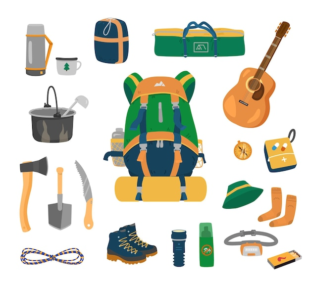 Ensemble d'équipement de camping.