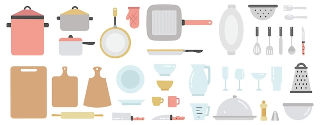 Ensemble d'équipement de cuisine. collection d'ustensiles de cuisine et vaisselle. couverts de ménage ou de restaurant. casserole, poêle, fourchette et autres ustensiles de cuisine. illustration vectorielle plane isolée
